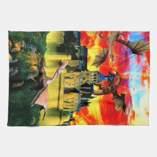 Fantasy caslte and dragon horde kitchen towel