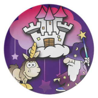 Fantasy Castle with Wizard and Unicorn Plate