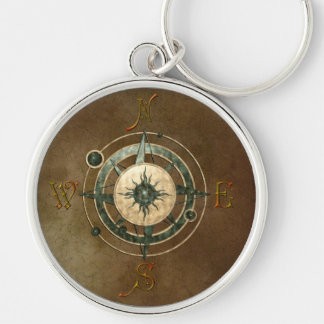 Fantasy Celtic Compass Design Silver-Colored Round Key Ring
