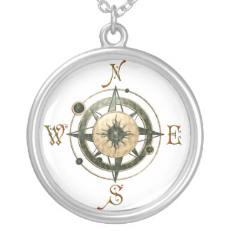 Fantasy (Celtic) Compass Design Silver Plated Necklace