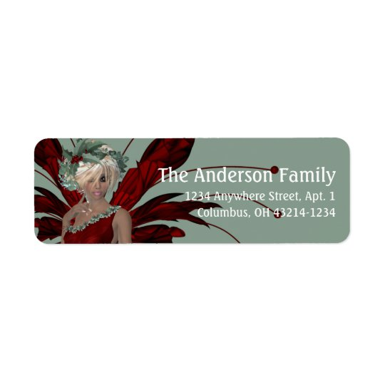 Fantasy Christmas Fairy Address Label - blonde