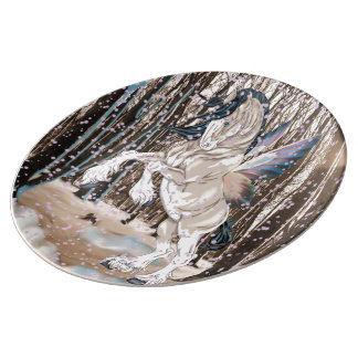 Fantasy Clydesdale Horse Fairy Porcelain Plate