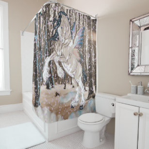 Fantasy Clydesdale Horse Fairy Shower Curtain