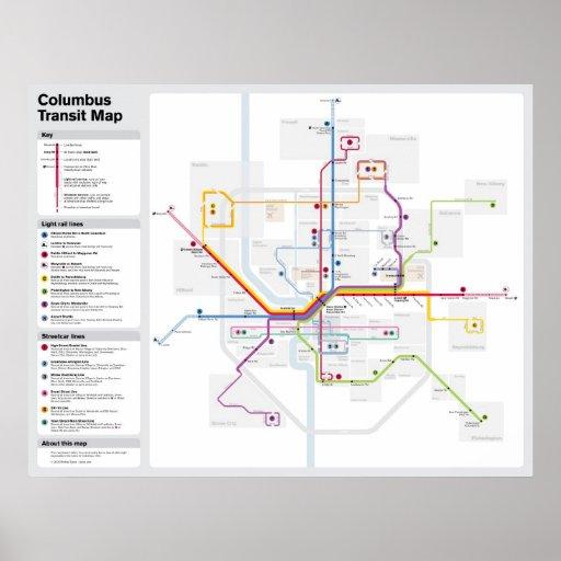 Fantasy Columbus Transit Map Poster
