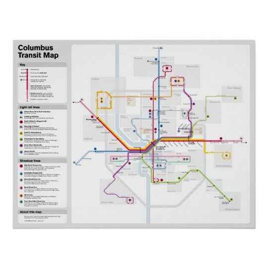 Fantasy Columbus Transit Map Poster