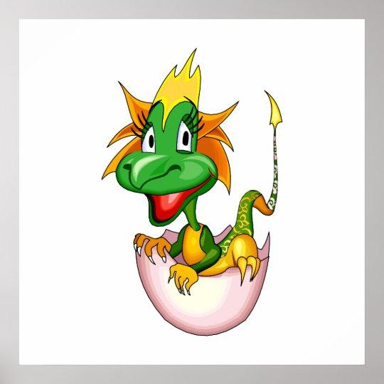 Fantasy Cute Baby Dragon Poster