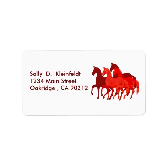 Fantasy Cute Red Horses Fantasy Label