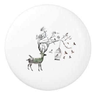 Fantasy Deer with Birds Ceramic Knob