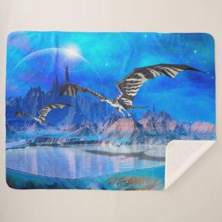 Fantasy Dragons Large Sherpa Blanket