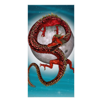 Fantasy Eastern Red Dragon Customized Photo Card
