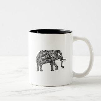 Fantasy Elephant Doodle Two-Tone Coffee Mug