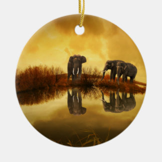 Fantasy Elephant Round Ceramic Decoration