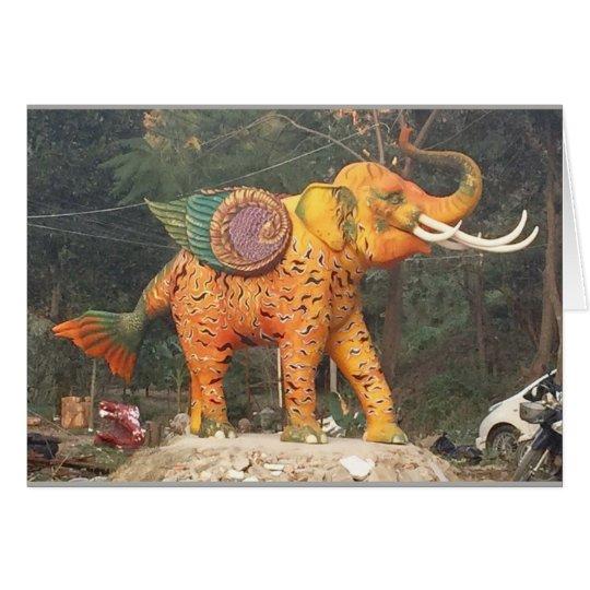 Fantasy Elephant Statue in Chiang Mai, Thailand Card