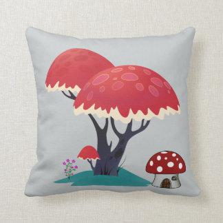 Fantasy fairy mushroom hut under a mushroom tree cushion