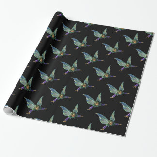 Fantasy Fairy Pattern on Black Wrapping Paper
