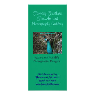 Fantasy Feathers Peafowl business Rack Card