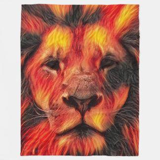 Fantasy Fire Lion Airbrush Art Fleece Blanket