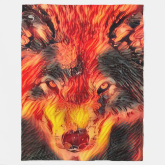 Fantasy Fire Wolf Efrit Art Fleece Blanket