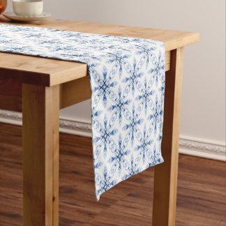 Fantasy Floral Faded Blue Fractal Short Table Runner