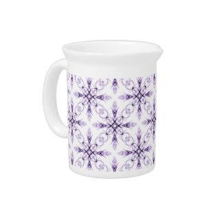 Fantasy Floral Faded Lavender Fractal Art Pitcher