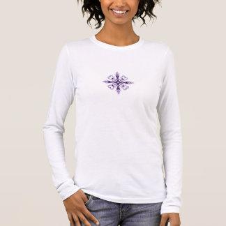Fantasy Floral Hearts Purple Fractal Design Long Sleeve T-Shirt