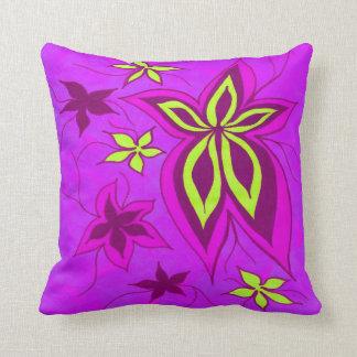 Fantasy floral magenta cushion