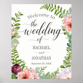 Fantasy Floral Wedding Welcome Signage Poster