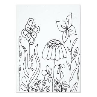 Fantasy Flower Garden Coloring Card 14 Cm X 19 Cm Invitation Card