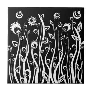 fantasy flowers small square tile