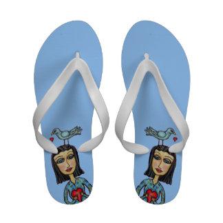 Fantasy Folk Art Lady Bluebird Hearts Love Flip-Flops