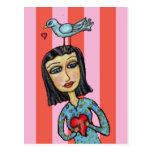 Fantasy Folk Art Lady Bluebird Hearts Love Postcard