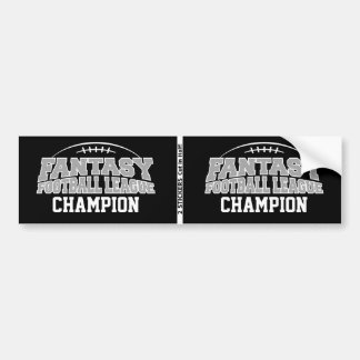 Fantasy Football Champion - Black and Silver Gray Bumper Sticker