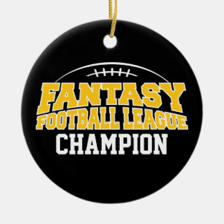 Fantasy Football Champion - Black and Yellow Gold Christmas Ornament
