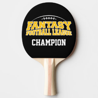 Fantasy Football Champion - Black and Yellow Gold Ping Pong Paddle