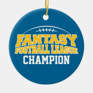 Fantasy Football Champion - Blue and Yellow Gold Round Ceramic Decoration