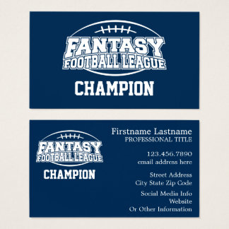 Fantasy Football Champion - Navy and White Business Card