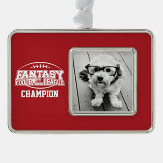 Fantasy Football Champion - Red and White Silver Plated Framed Ornament