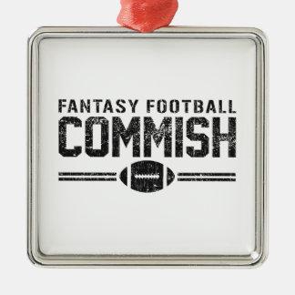 Fantasy Football Commish Silver-Colored Square Decoration