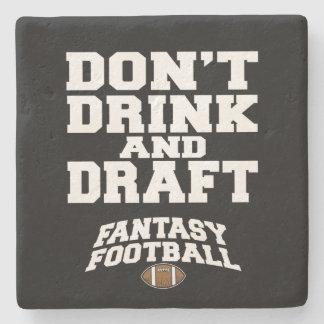 Fantasy Football Don't Drink and Draft - Black Stone Coaster