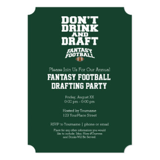 Fantasy Football - Don't Drink and Draft 5x7 Paper Invitation Card