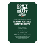 Fantasy Football - Don't Drink and Draught 13 Cm X 18 Cm Invitation Card