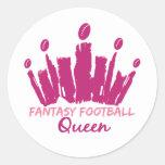 Fantasy Football Queen Round Sticker