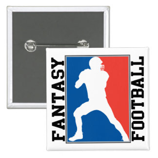 Fantasy Football, red white and blue Logo 15 Cm Square Badge