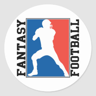 Fantasy Football, red white and blue Logo Classic Round Sticker