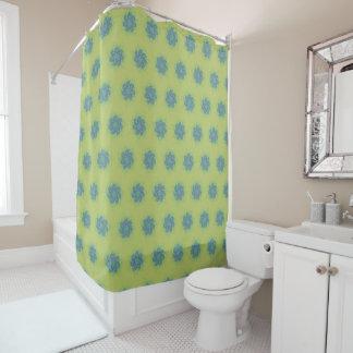 Fantasy fun blue galaxy swirls on gold shower curtain