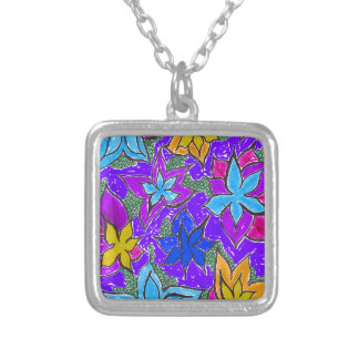 Fantasy Fun Floral Silver Plated Necklace