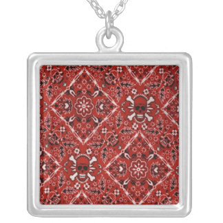 Fantasy Fun Red Skull Sterling Silver Necklace