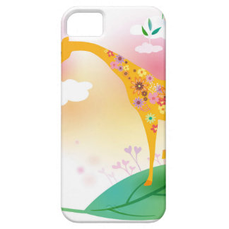Fantasy giraffe stand on leaf over the sky case for the iPhone 5