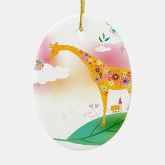 Fantasy giraffe stand on leaf over the sky christmas ornament