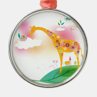 Fantasy giraffe stand on leaf over the sky christmas ornament